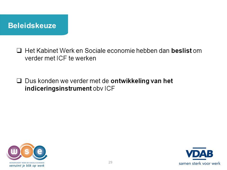 29 Beleidskeuze  Het Kabinet Werk en Sociale economie hebben dan beslist om verder met ICF te werken  Dus konden we verder met de ontwikkeling van h