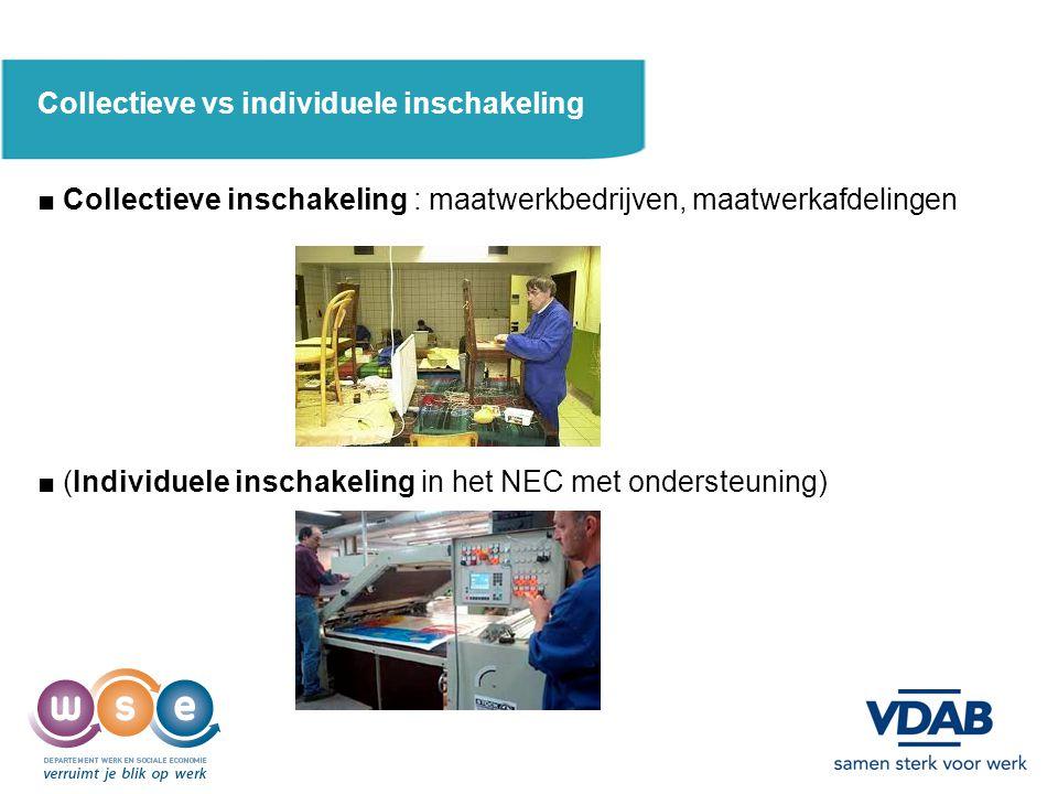 Collectieve vs individuele inschakeling ■ Collectieve inschakeling : maatwerkbedrijven, maatwerkafdelingen ■ (Individuele inschakeling in het NEC met