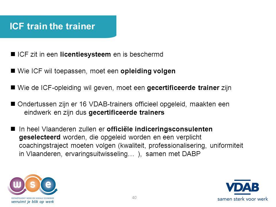 40 ICF train the trainer ICF zit in een licentiesysteem en is beschermd Wie ICF wil toepassen, moet een opleiding volgen Wie de ICF-opleiding wil geve