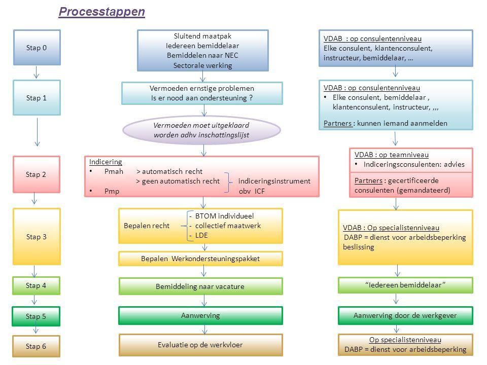 Stap 0 Processtappen Stap 1 Stap 2 Stap 3 Stap 6 Sluitend maatpak Iedereen bemiddelaar Bemiddelen naar NEC Sectorale werking VDAB : op consulentennive