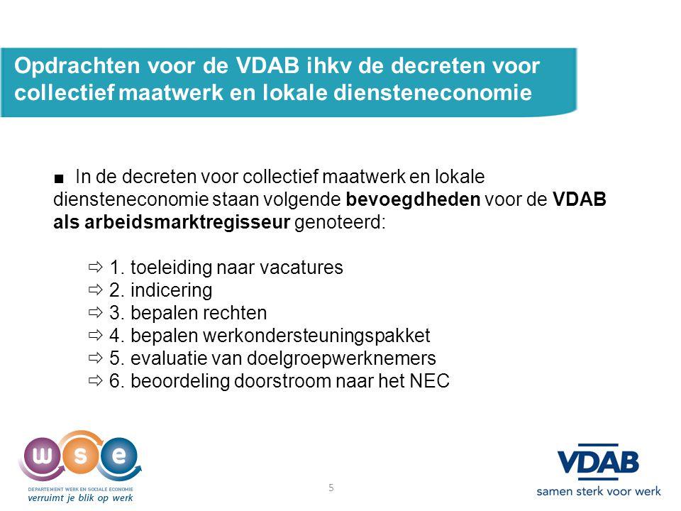 5 Opdrachten voor de VDAB ihkv de decreten voor collectief maatwerk en lokale diensteneconomie ■ In de decreten voor collectief maatwerk en lokale die