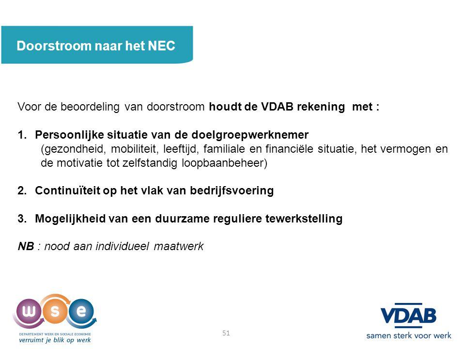 Doorstroom naar het NEC Voor de beoordeling van doorstroom houdt de VDAB rekening met : 1.Persoonlijke situatie van de doelgroepwerknemer (gezondheid,