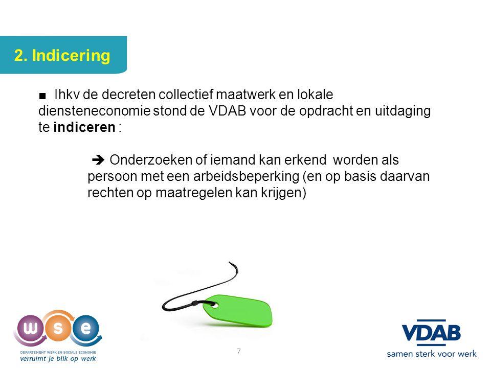 7 2. Indicering ■ Ihkv de decreten collectief maatwerk en lokale diensteneconomie stond de VDAB voor de opdracht en uitdaging te indiceren :  Onderzo