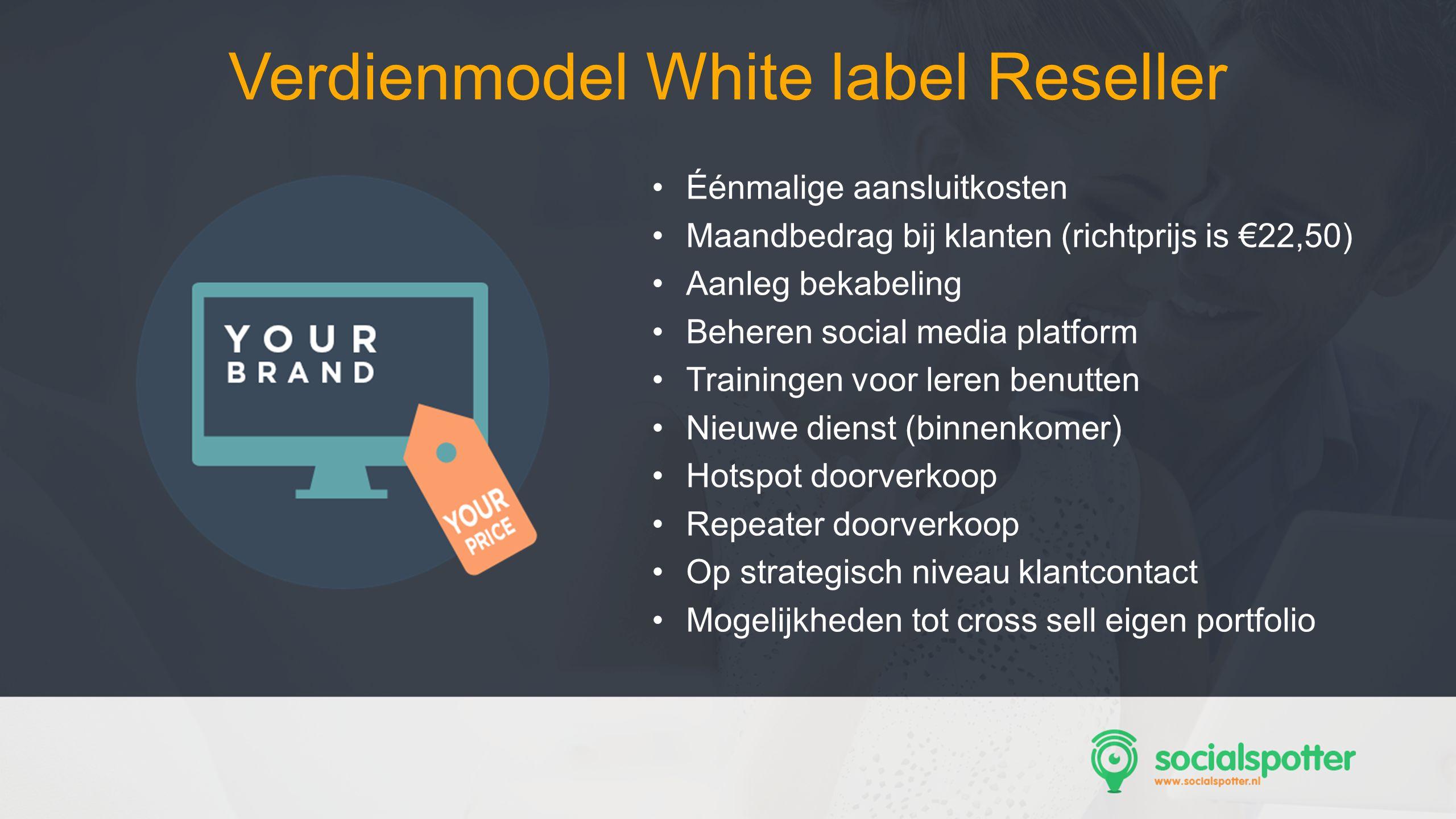 SocMed PRO - Presentation Name Goes Here Éénmalige aansluitkosten Maandbedrag bij klanten (richtprijs is €22,50) Aanleg bekabeling Beheren social medi