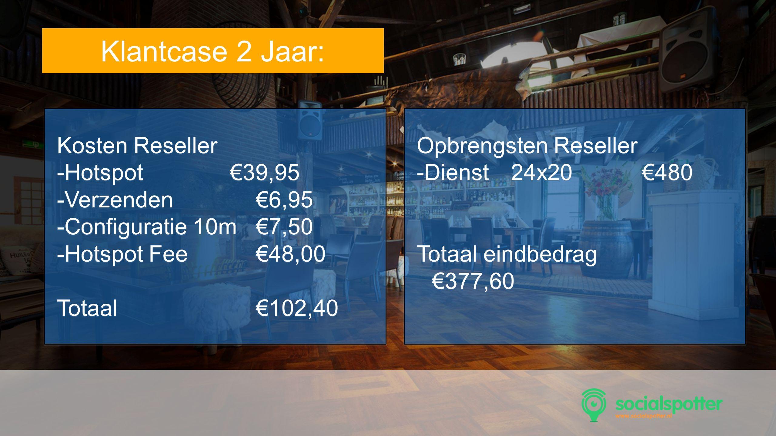 SocMed PRO - Presentation Name Goes Here Tekst Klantcase 2 Jaar: Kosten Reseller -Hotspot €39,95 -Verzenden€6,95 -Configuratie 10m€7,50 -Hotspot Fee€4