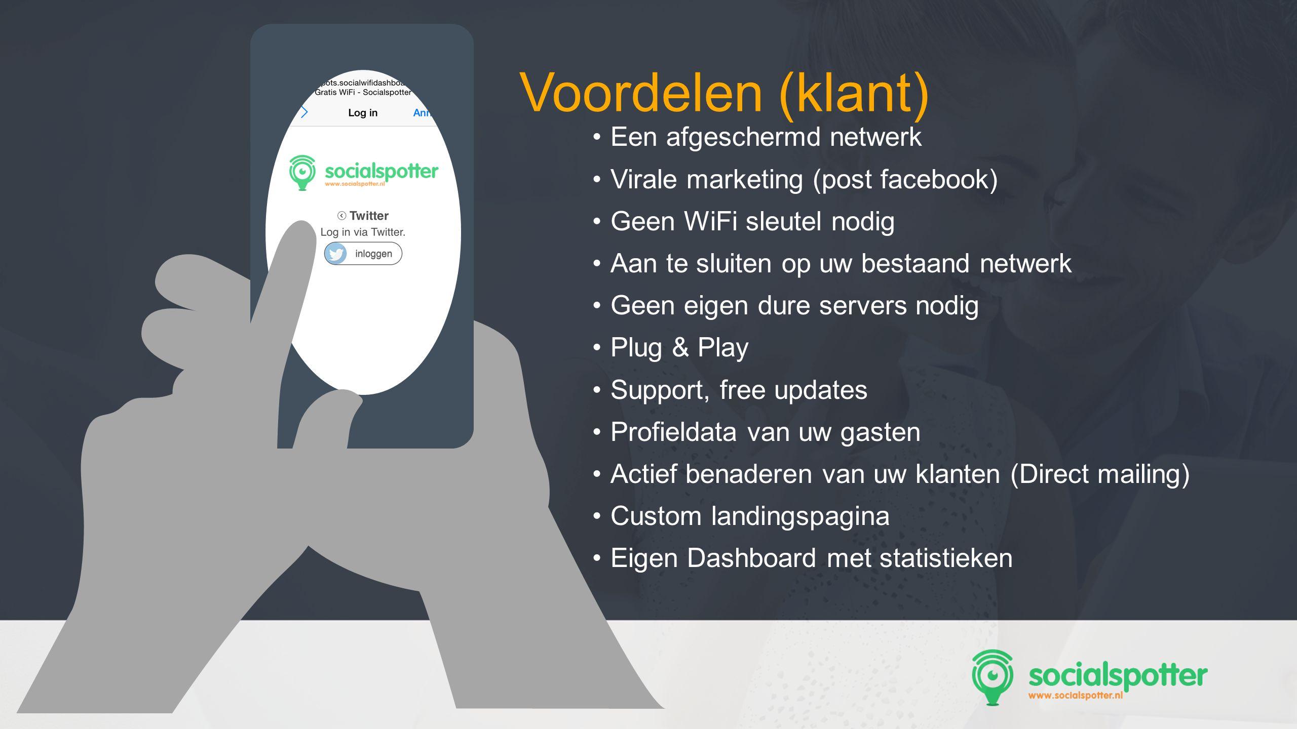 SocMed PRO - Presentation Name Goes Here Een afgeschermd netwerk Virale marketing (post facebook) Geen WiFi sleutel nodig Aan te sluiten op uw bestaan