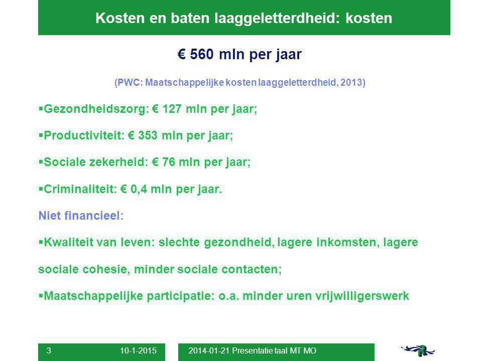 10-1-2015 2014-01-21 Presentatie taal MT MO 3 Kosten en baten laaggeletterdheid: kosten € 560 mln per jaar (PWC: Maatschappelijke kosten laaggeletterd