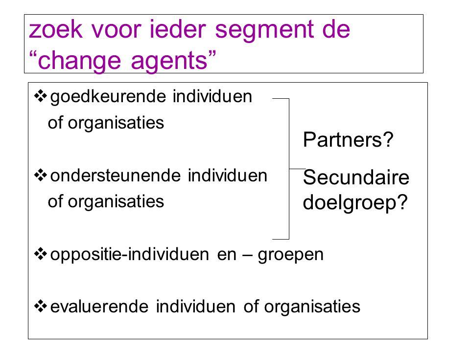 """zoek voor ieder segment de """"change agents""""  goedkeurende individuen of organisaties  ondersteunende individuen of organisaties  oppositie-individue"""