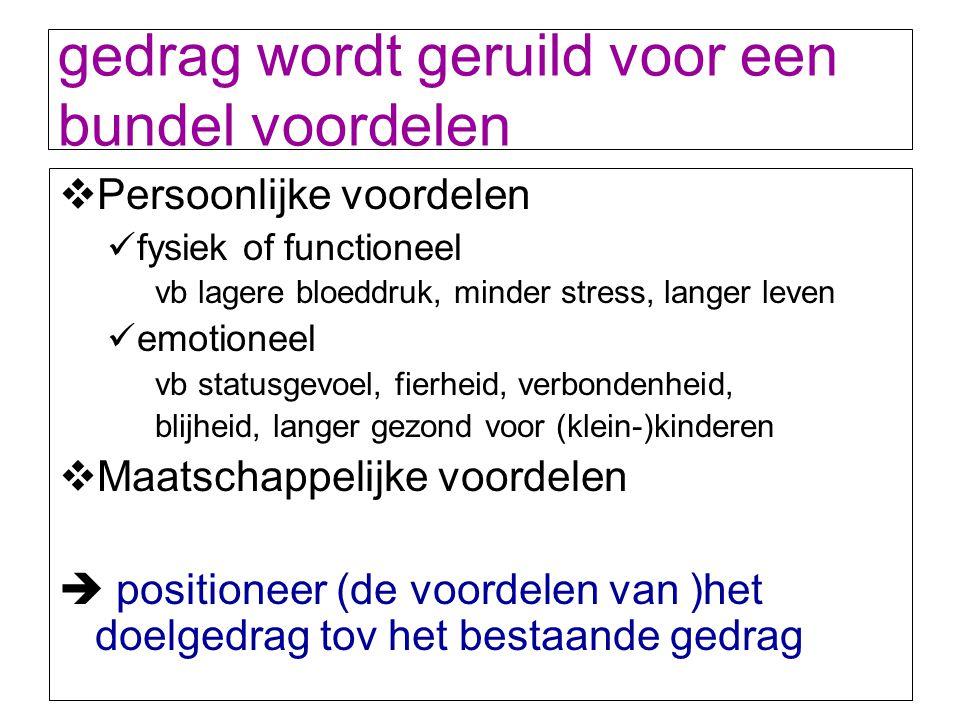 gedrag wordt geruild voor een bundel voordelen  Persoonlijke voordelen fysiek of functioneel vb lagere bloeddruk, minder stress, langer leven emotion