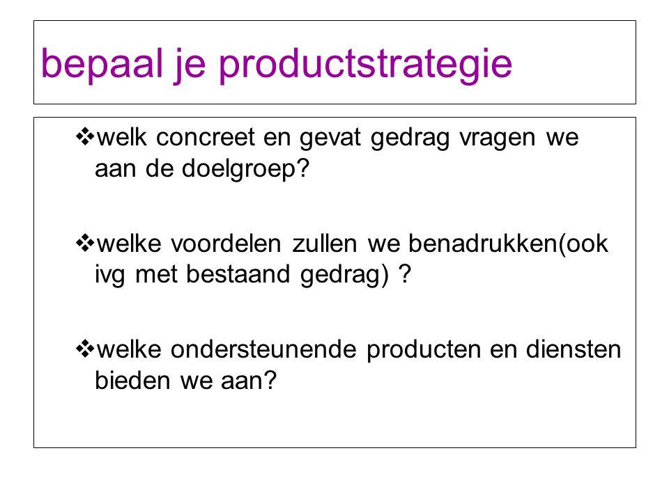 bepaal je productstrategie  welk concreet en gevat gedrag vragen we aan de doelgroep?  welke voordelen zullen we benadrukken(ook ivg met bestaand ge