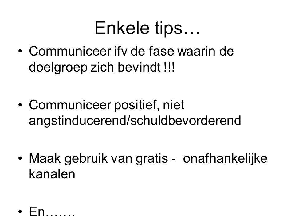 Enkele tips… Communiceer ifv de fase waarin de doelgroep zich bevindt !!! Communiceer positief, niet angstinducerend/schuldbevorderend Maak gebruik va