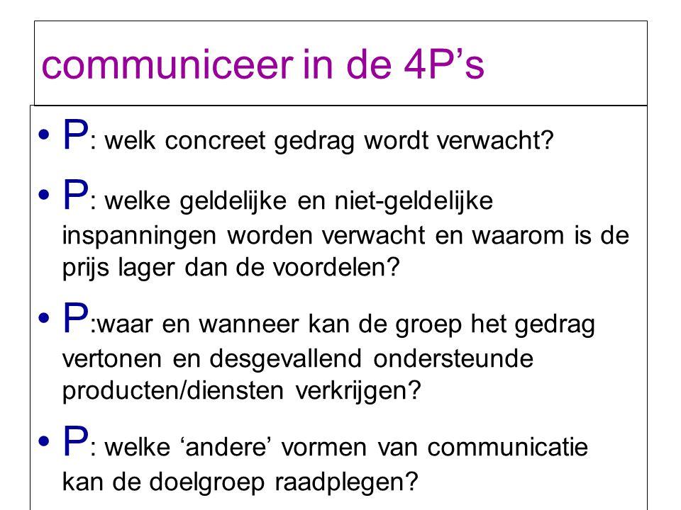 communiceer in de 4P's P : welk concreet gedrag wordt verwacht? P : welke geldelijke en niet-geldelijke inspanningen worden verwacht en waarom is de p