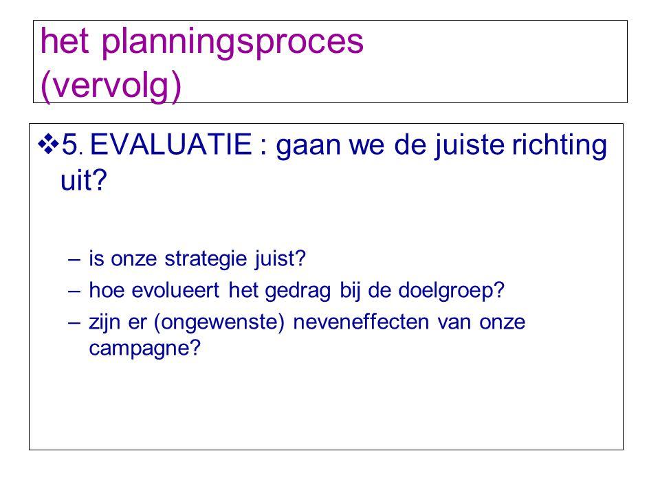 het planningsproces (vervolg)  5. EVALUATIE : gaan we de juiste richting uit? –is onze strategie juist? –hoe evolueert het gedrag bij de doelgroep? –