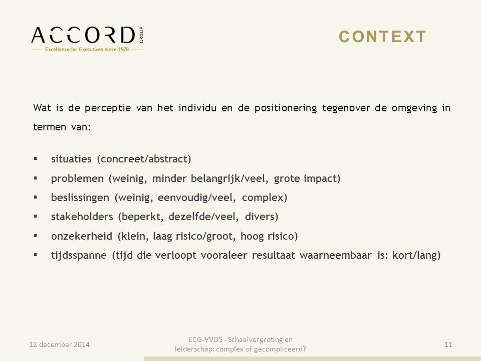 10/01/201511 CONTEXT Wat is de perceptie van het individu en de positionering tegenover de omgeving in termen van:  situaties (concreet/abstract)  p