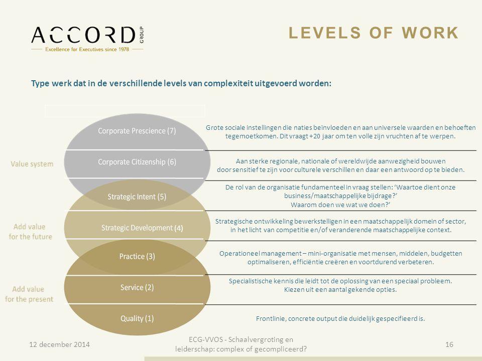 10/01/201516 Type werk dat in de verschillende levels van complexiteit uitgevoerd worden: LEVELS OF WORK Grote sociale instellingen die naties beïnvlo
