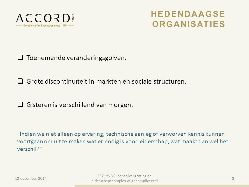 10/01/20153 3 EVOLUTIE 12 december 2014 ECG-VVOS - Schaalvergroting en leiderschap: complex of gecompliceerd.