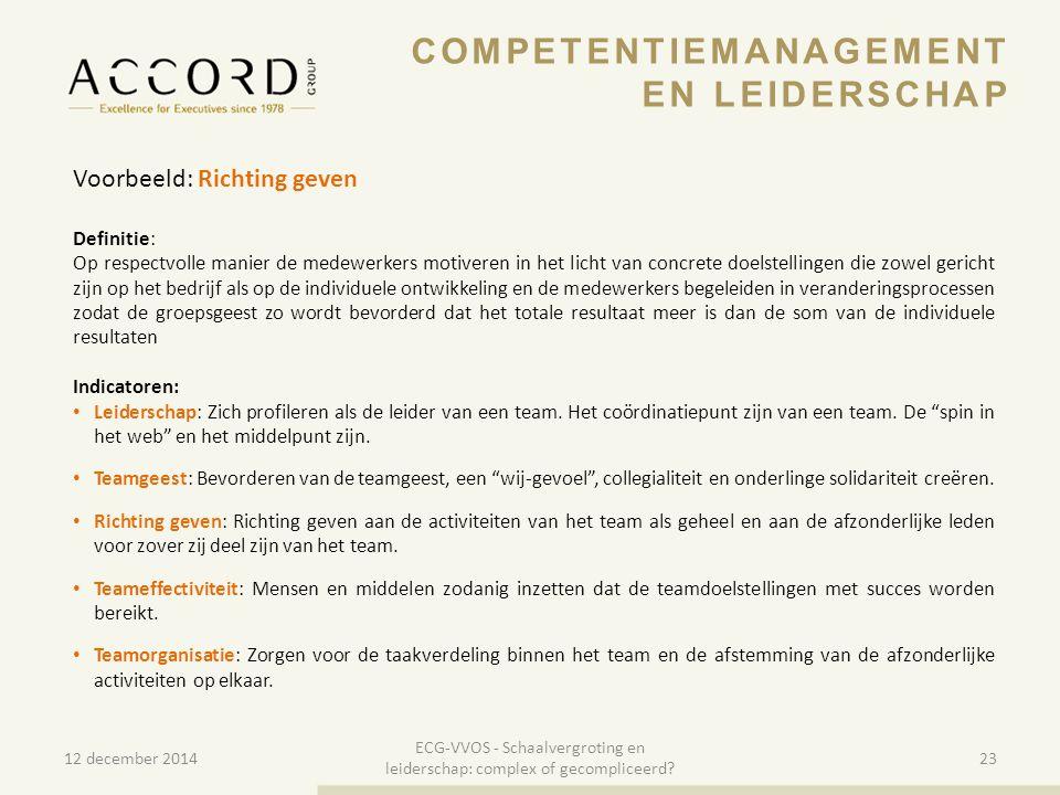 10/01/201523 Voorbeeld: Richting geven Definitie: Op respectvolle manier de medewerkers motiveren in het licht van concrete doelstellingen die zowel g