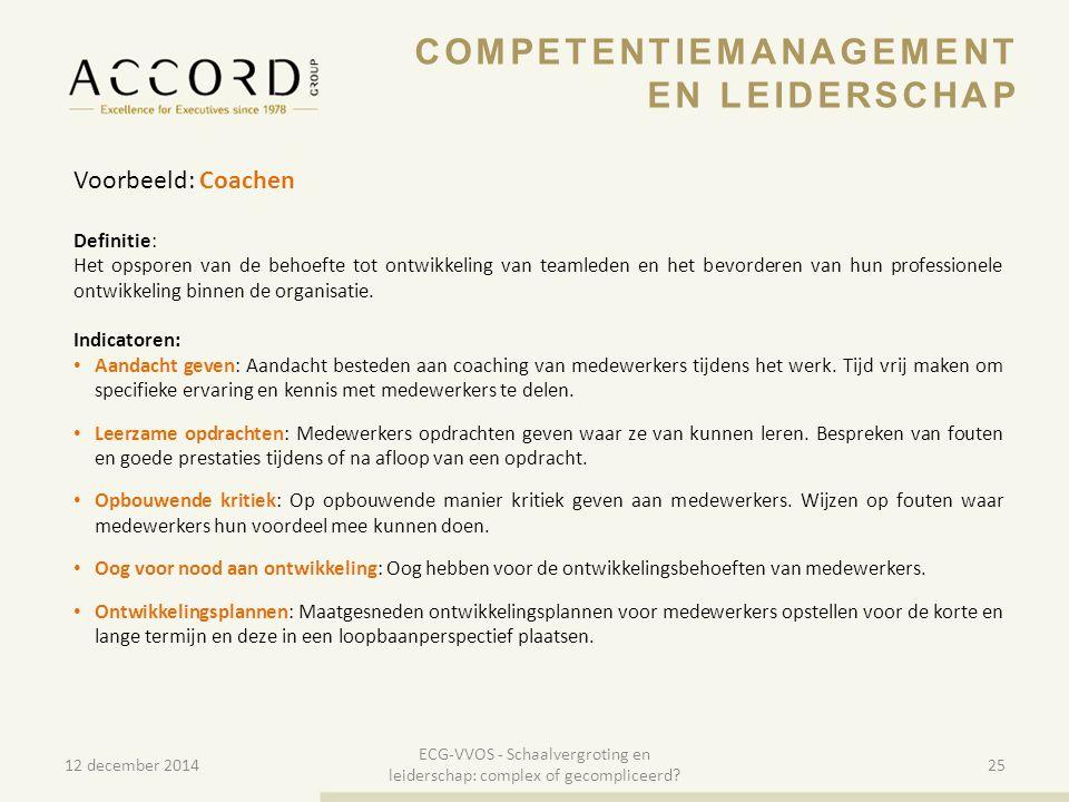 10/01/201525 Voorbeeld: Coachen Definitie: Het opsporen van de behoefte tot ontwikkeling van teamleden en het bevorderen van hun professionele ontwikk