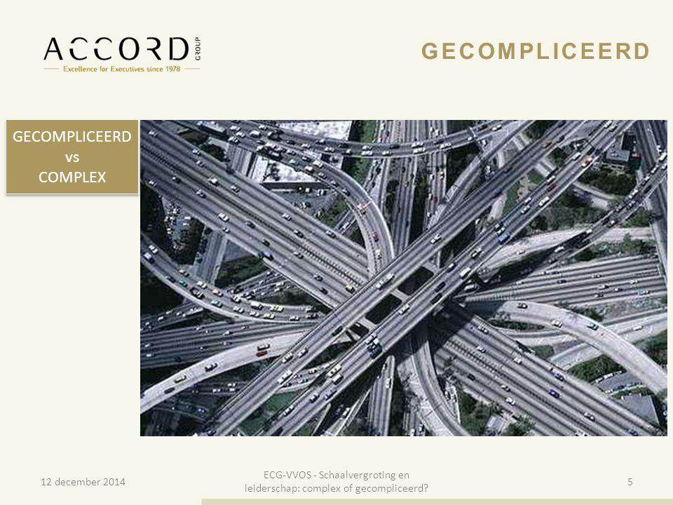 10/01/20155 5 GECOMPLICEERD vs COMPLEX GECOMPLICEERD vs COMPLEX 12 december 2014 ECG-VVOS - Schaalvergroting en leiderschap: complex of gecompliceerd?