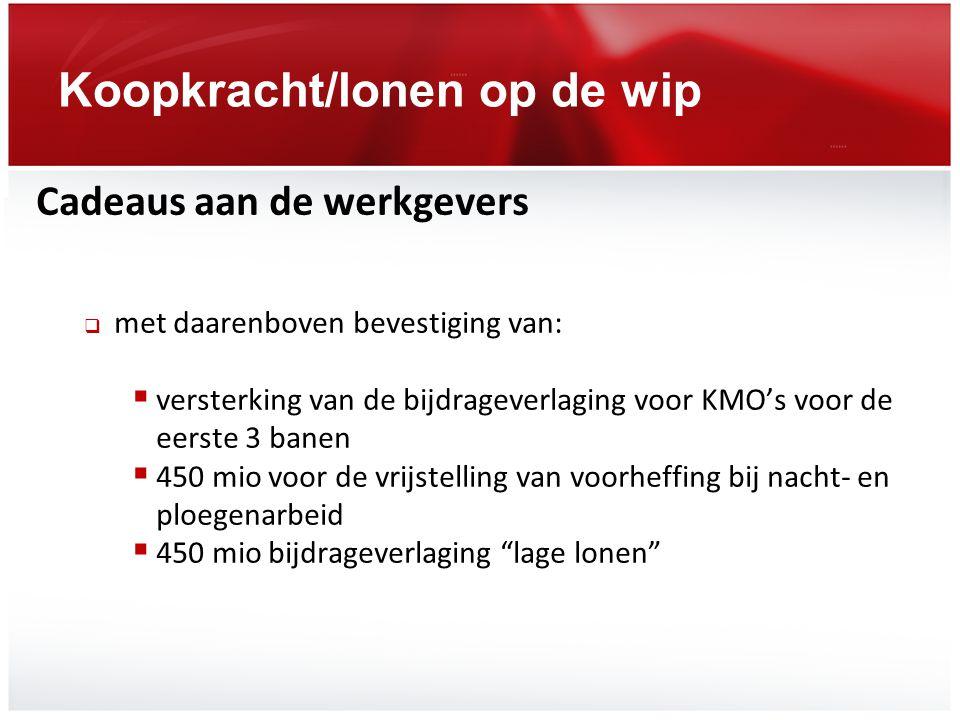 Koopkracht/lonen op de wip Cadeaus aan de werkgevers  met daarenboven bevestiging van:  versterking van de bijdrageverlaging voor KMO's voor de eers