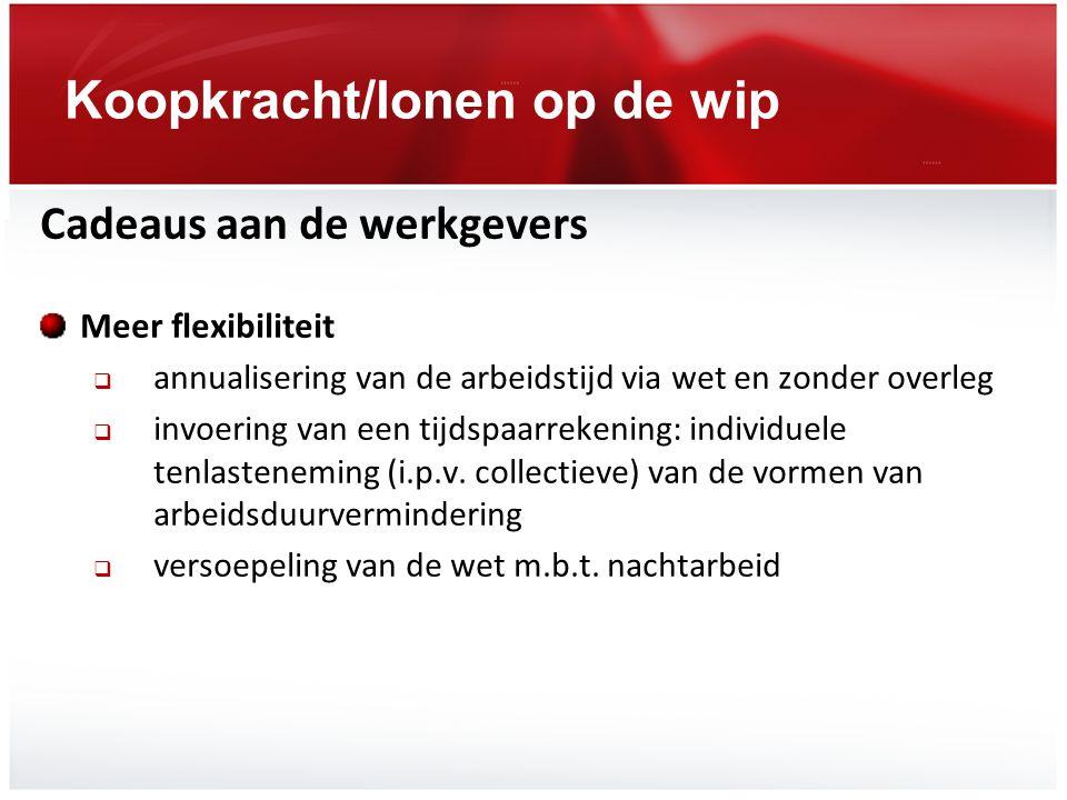 Koopkracht/lonen op de wip Cadeaus aan de werkgevers Meer flexibiliteit  annualisering van de arbeidstijd via wet en zonder overleg  invoering van e
