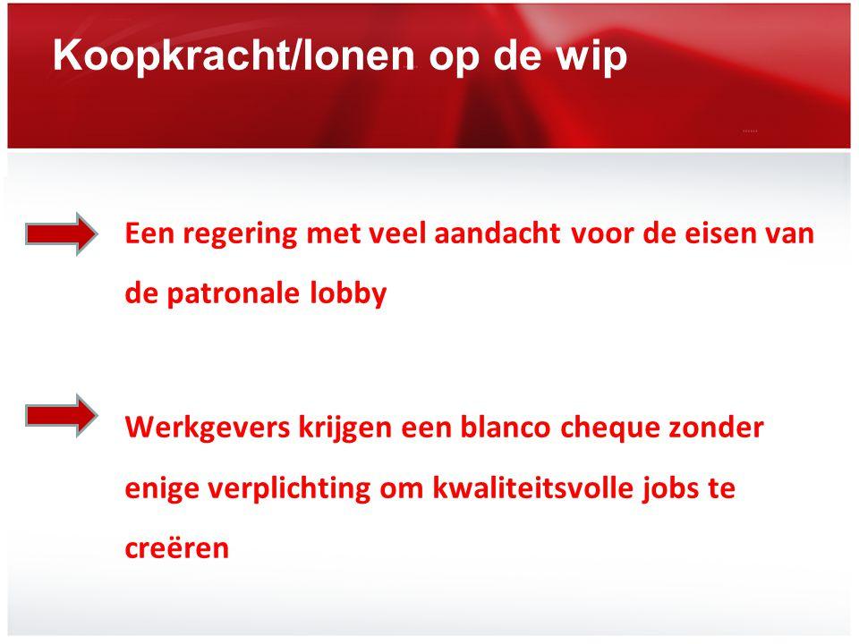 Koopkracht/lonen op de wip Een regering met veel aandacht voor de eisen van de patronale lobby Werkgevers krijgen een blanco cheque zonder enige verpl