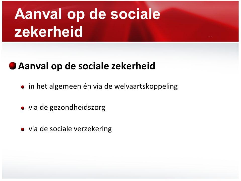 Aanval op de sociale zekerheid in het algemeen én via de welvaartskoppeling via de gezondheidszorg via de sociale verzekering