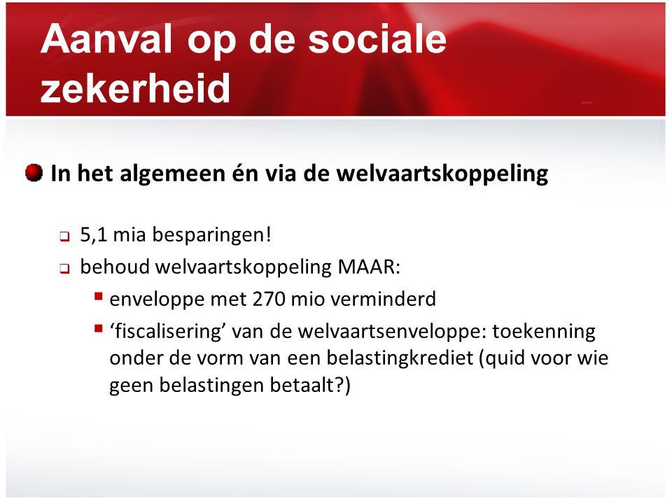 Aanval op de sociale zekerheid In het algemeen én via de welvaartskoppeling  5,1 mia besparingen!  behoud welvaartskoppeling MAAR:  enveloppe met 2