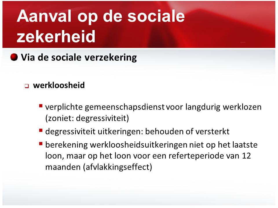 Aanval op de sociale zekerheid Via de sociale verzekering  werkloosheid  verplichte gemeenschapsdienst voor langdurig werklozen (zoniet: degressivit