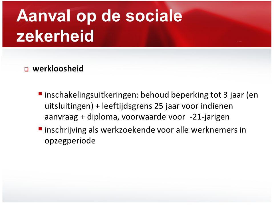 Aanval op de sociale zekerheid  werkloosheid  inschakelingsuitkeringen: behoud beperking tot 3 jaar (en uitsluitingen) + leeftijdsgrens 25 jaar voor