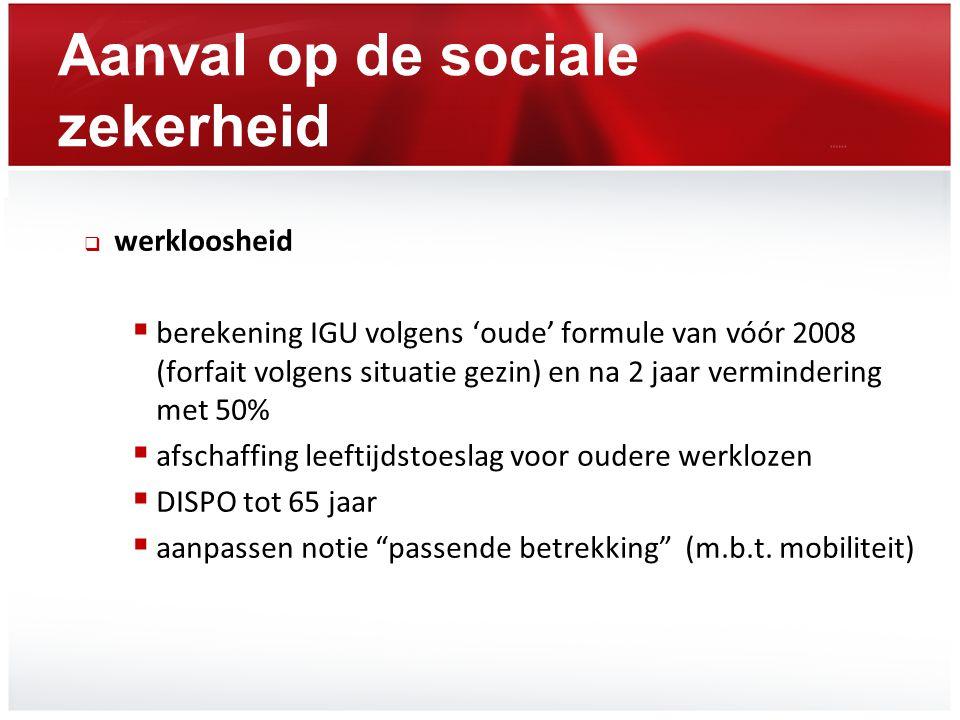 Aanval op de sociale zekerheid  werkloosheid  berekening IGU volgens 'oude' formule van vóór 2008 (forfait volgens situatie gezin) en na 2 jaar verm