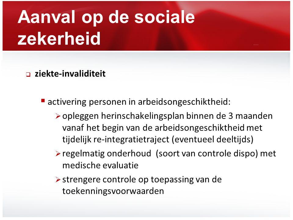 Aanval op de sociale zekerheid  ziekte-invaliditeit  activering personen in arbeidsongeschiktheid:  opleggen herinschakelingsplan binnen de 3 maand