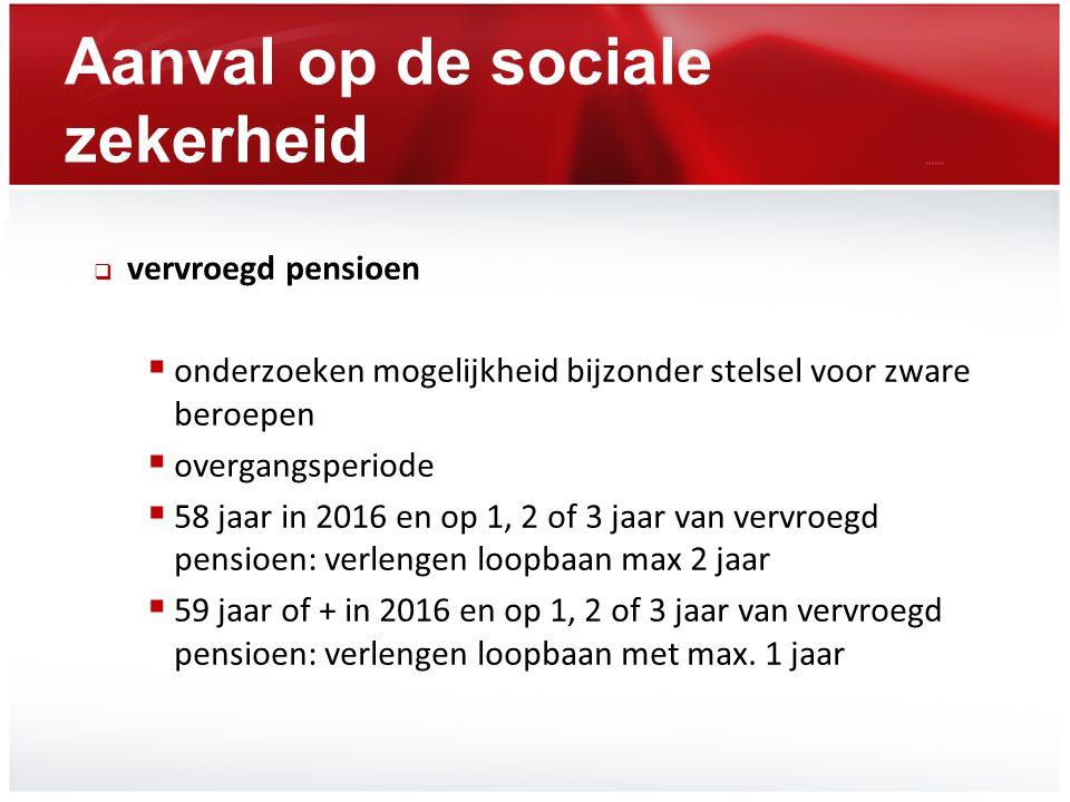 Aanval op de sociale zekerheid  vervroegd pensioen  onderzoeken mogelijkheid bijzonder stelsel voor zware beroepen  overgangsperiode  58 jaar in 2