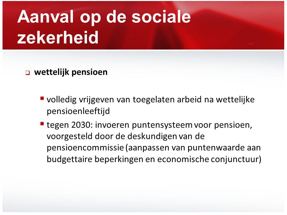 Aanval op de sociale zekerheid  wettelijk pensioen  volledig vrijgeven van toegelaten arbeid na wettelijke pensioenleeftijd  tegen 2030: invoeren p