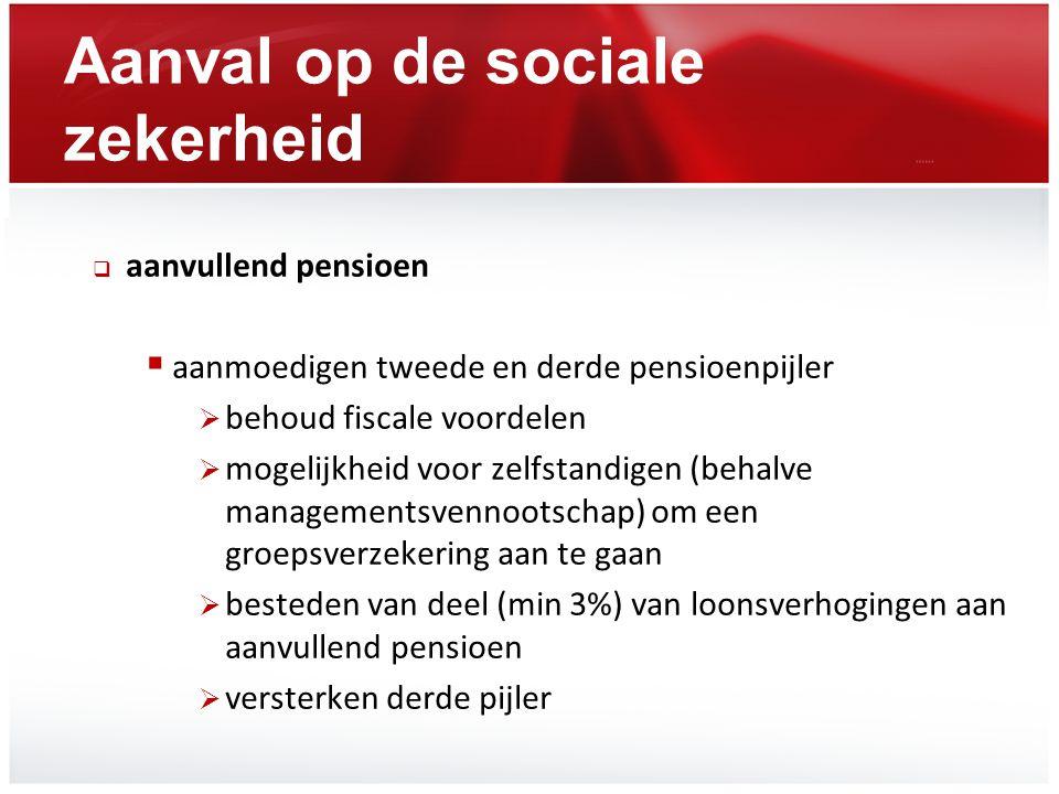 Aanval op de sociale zekerheid  aanvullend pensioen  aanmoedigen tweede en derde pensioenpijler  behoud fiscale voordelen  mogelijkheid voor zelfs