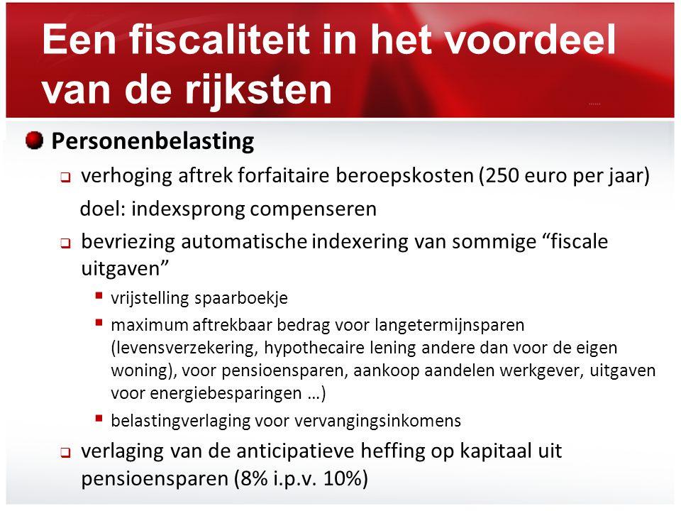 Een fiscaliteit in het voordeel van de rijksten Personenbelasting  verhoging aftrek forfaitaire beroepskosten (250 euro per jaar) doel: indexsprong c