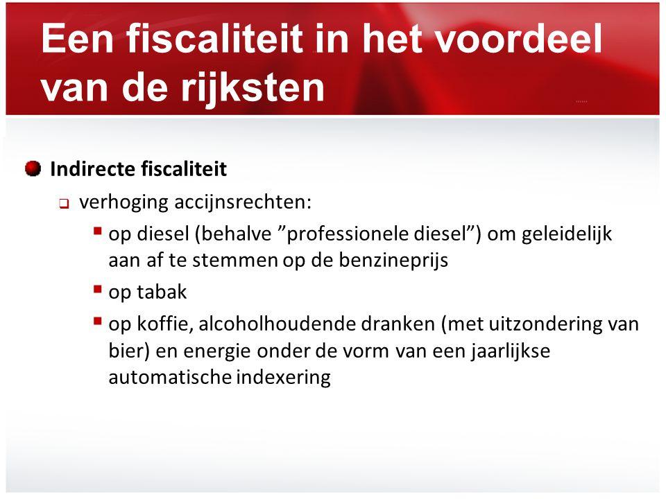 """Een fiscaliteit in het voordeel van de rijksten Indirecte fiscaliteit  verhoging accijnsrechten:  op diesel (behalve """"professionele diesel"""") om gele"""