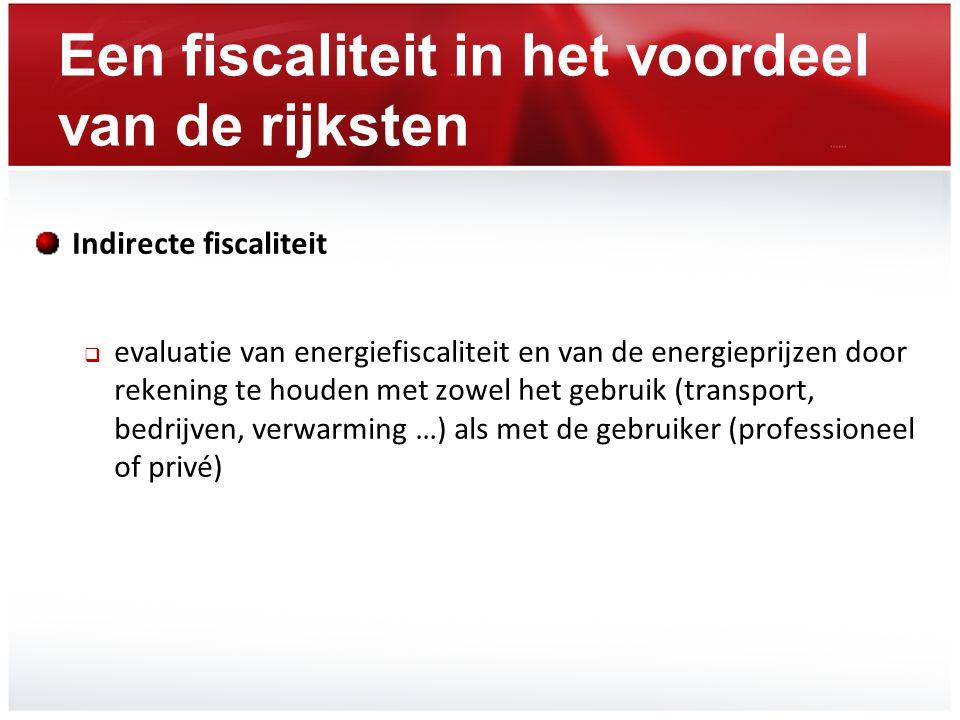 Een fiscaliteit in het voordeel van de rijksten Indirecte fiscaliteit  evaluatie van energiefiscaliteit en van de energieprijzen door rekening te hou