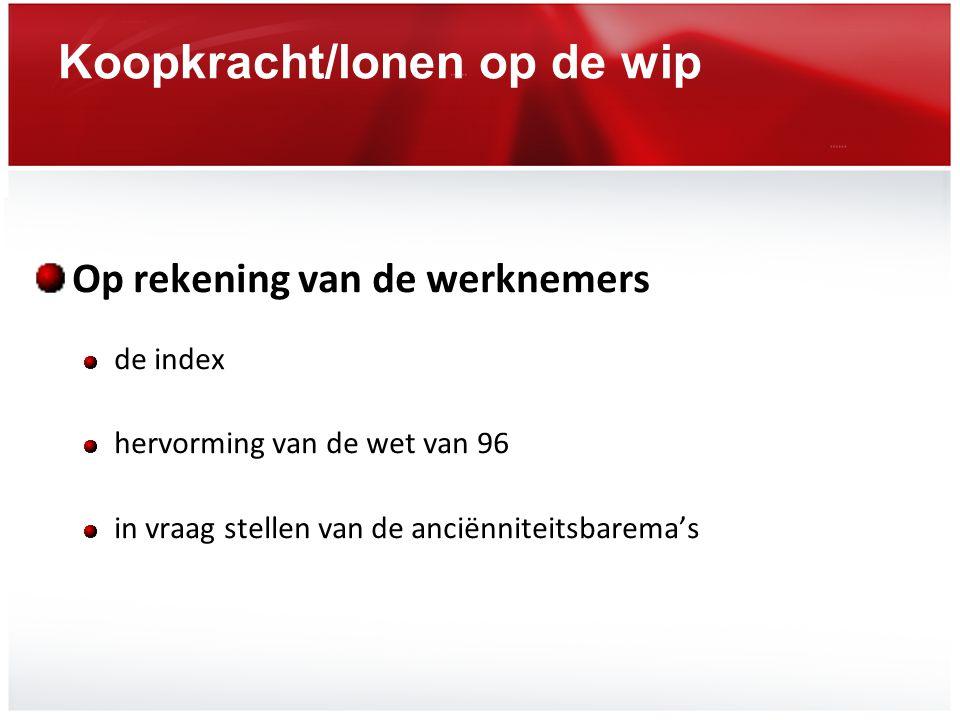 Koopkracht/lonen op de wip Op rekening van de werknemers de index hervorming van de wet van 96 in vraag stellen van de anciënniteitsbarema's