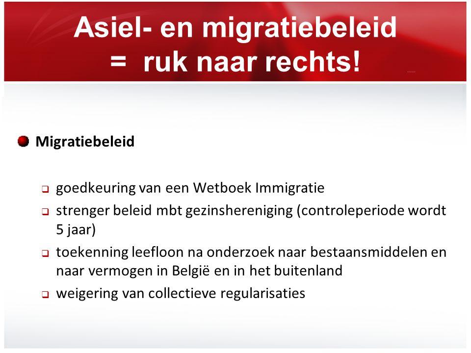 Asiel- en migratiebeleid = ruk naar rechts! Migratiebeleid  goedkeuring van een Wetboek Immigratie  strenger beleid mbt gezinshereniging (controlepe