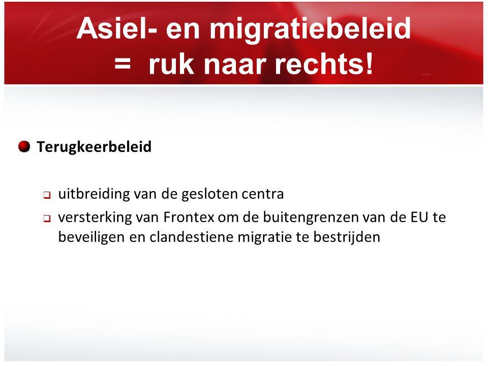 Asiel- en migratiebeleid = ruk naar rechts! Terugkeerbeleid  uitbreiding van de gesloten centra  versterking van Frontex om de buitengrenzen van de