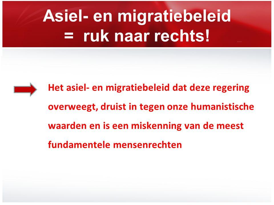 Asiel- en migratiebeleid = ruk naar rechts! Het asiel- en migratiebeleid dat deze regering overweegt, druist in tegen onze humanistische waarden en is