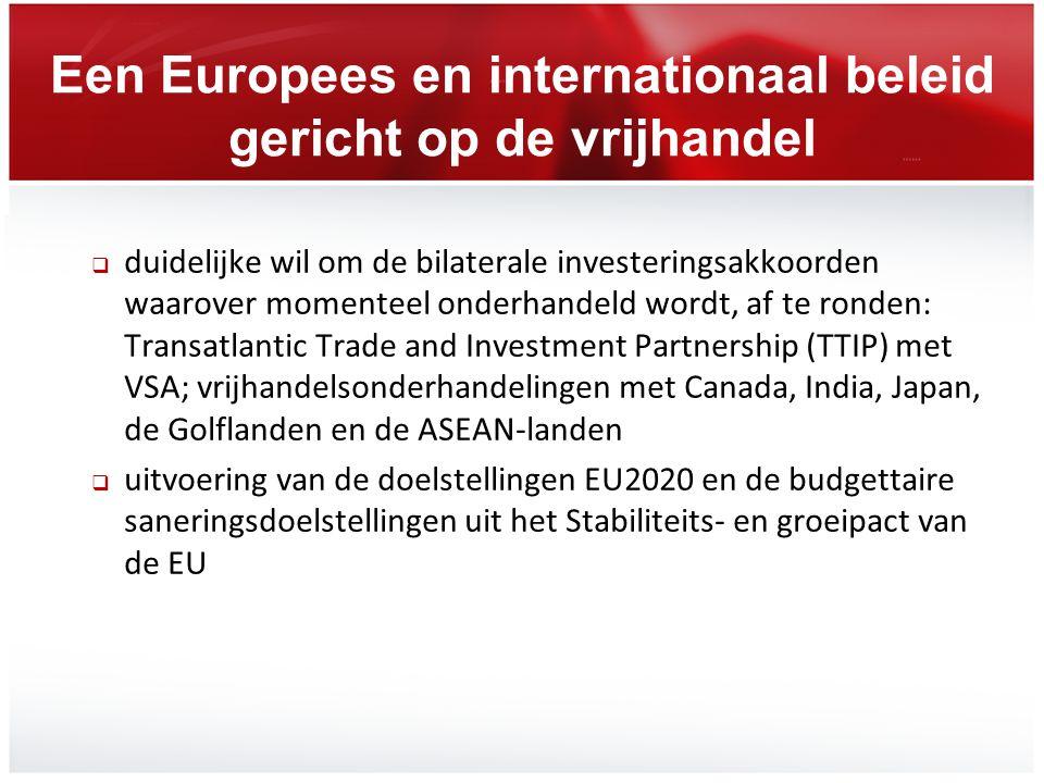Een Europees en internationaal beleid gericht op de vrijhandel  duidelijke wil om de bilaterale investeringsakkoorden waarover momenteel onderhandeld