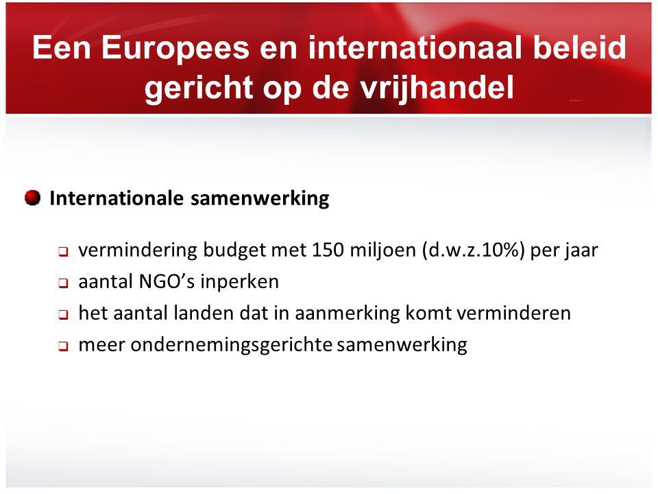 Een Europees en internationaal beleid gericht op de vrijhandel Internationale samenwerking  vermindering budget met 150 miljoen (d.w.z.10%) per jaar