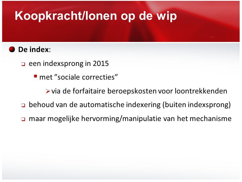 """Koopkracht/lonen op de wip De index:  een indexsprong in 2015  met """"sociale correcties""""  via de forfaitaire beroepskosten voor loontrekkenden  beh"""