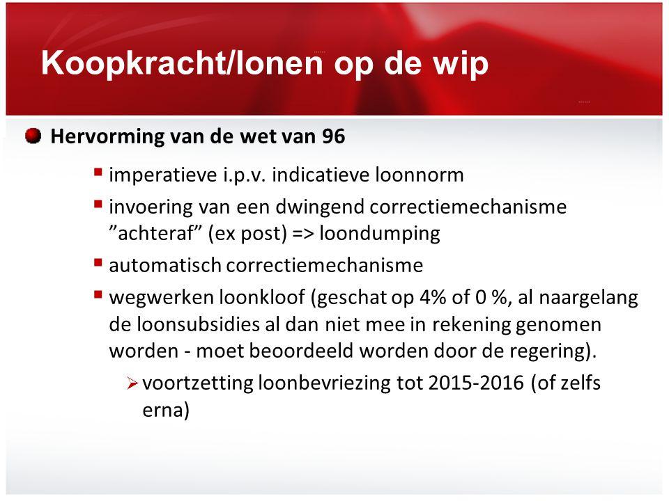 Koopkracht/lonen op de wip In vraag stellen van de anciënniteitsbarema's  (geleidelijke) invoering van een evoluerend systeem gebaseerd op competentie en productiviteit