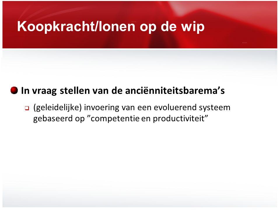 """Koopkracht/lonen op de wip In vraag stellen van de anciënniteitsbarema's  (geleidelijke) invoering van een evoluerend systeem gebaseerd op """"competent"""