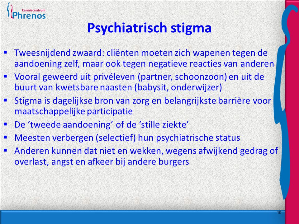 10 Psychiatrisch stigma  Tweesnijdend zwaard: cliënten moeten zich wapenen tegen de aandoening zelf, maar ook tegen negatieve reacties van anderen  Vooral geweerd uit privéleven (partner, schoonzoon) en uit de buurt van kwetsbare naasten (babysit, onderwijzer)  Stigma is dagelijkse bron van zorg en belangrijkste barrière voor maatschappelijke participatie  De 'tweede aandoening' of de 'stille ziekte'  Meesten verbergen (selectief) hun psychiatrische status  Anderen kunnen dat niet en wekken, wegens afwijkend gedrag of overlast, angst en afkeer bij andere burgers
