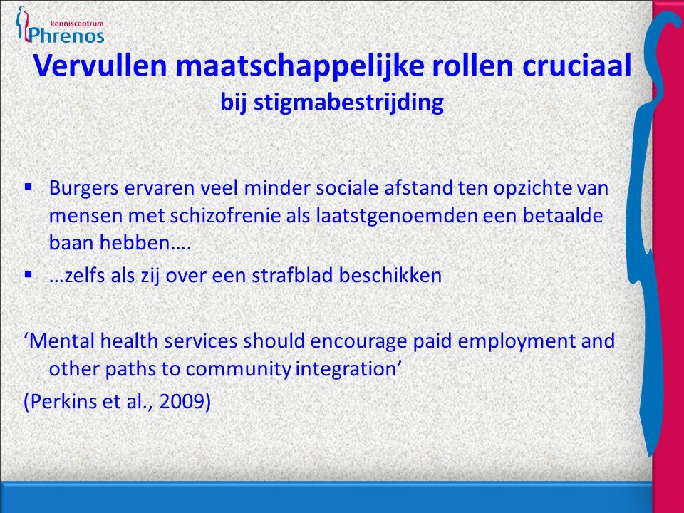 Vervullen maatschappelijke rollen cruciaal bij stigmabestrijding  Burgers ervaren veel minder sociale afstand ten opzichte van mensen met schizofrenie als laatstgenoemden een betaalde baan hebben….