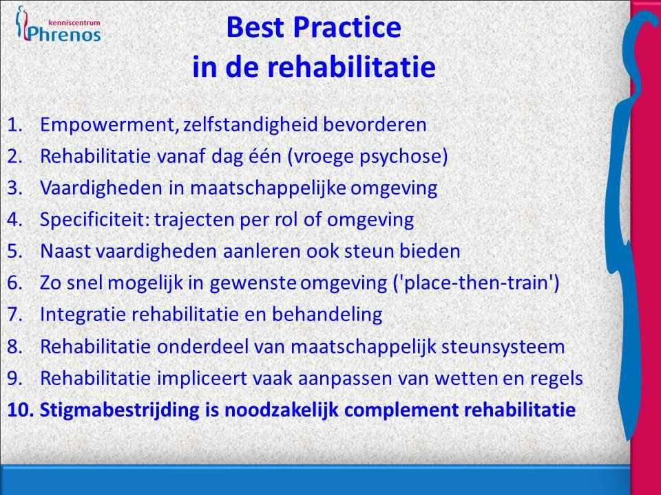 Best Practice in de rehabilitatie 1.Empowerment, zelfstandigheid bevorderen 2.Rehabilitatie vanaf dag één (vroege psychose) 3.Vaardigheden in maatschappelijke omgeving 4.Specificiteit: trajecten per rol of omgeving 5.Naast vaardigheden aanleren ook steun bieden 6.Zo snel mogelijk in gewenste omgeving ( place-then-train ) 7.Integratie rehabilitatie en behandeling 8.Rehabilitatie onderdeel van maatschappelijk steunsysteem 9.Rehabilitatie impliceert vaak aanpassen van wetten en regels 10.Stigmabestrijding is noodzakelijk complement rehabilitatie